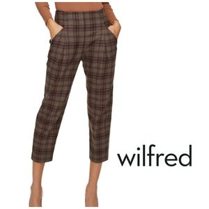 Aritzia WILFRED Chambery Wool Cashmere High Rise Pleated Plaid Crop Trousers